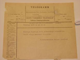 Naiskodukaitse Sadama jaoskonna telegramm Meremuuseumile