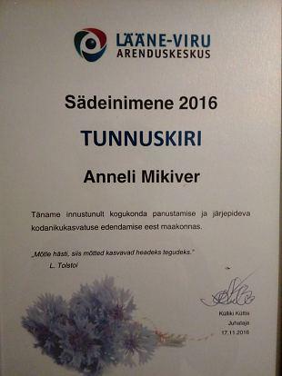 """Anneli Mikiver on Lääne-Virumaa """"Sädeinimene 2016"""""""