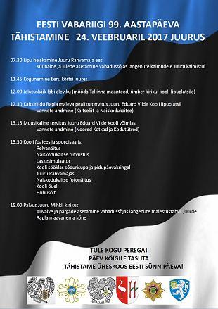 Eesti Vabariigi aastapäeva tähistamine Juurus 24.02.2017